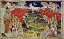 La Tenture de l'Apocalypse (103 m aujourd'hui conservés), tissée pour le duc Louis Ier d'Anjou vers 1375. Château d'Angers. Détail: l'agneau