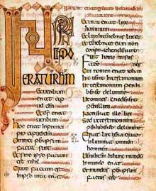 Page de l'Evangile d'Echternach (ou de Willibrord): début de l'évangile de Saint Jean. Folio 177. Vers 698. Paris Bibliothèque Nationale