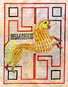 Page de l'Evangile d'Echternach (ou de Willibrord): le symbole de Marc, folio 75v. Vers 698. Paris Bibliothèque Nationale