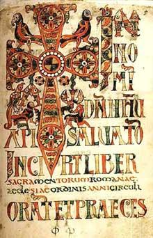 Sacramentaire gélasien, probablement de Chelles: vers 700. C'est la première apparition des lettrines, souvent composées d'animaux: ainsi la lettre N est formée de poissons. Rome, bibliothèque Vaticane