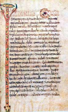 Page du lectionnaire de Luxeuil. VIIè- Manuscrit latin 9427, folio 144. Paris; Bibliothèque Nationale