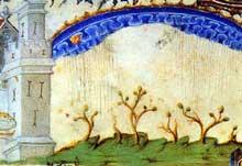 Jean Pucelle: Premières pluies. Bréviaire de Belleville. Paris, Bibliothèque Nationale