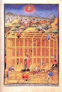 Le Maître du Duc de Bedford (actif entre 1405 et 1435 à Paris): la construction de la tour de Babel. Parchemin enluminé, 41 x 28cm. Vers 1423; British Library, Londres