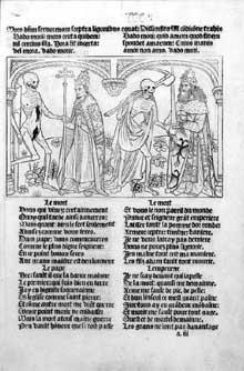 Guyot Marchant: La Danse macabre du cimetière des Innocents. Paris, 1486. folio a III: Un pape et un empereur. (Histoire de l'art - Quattrocento