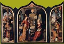 Jean Bellegambe (1470-1535): l'annonciation. 1516-1517. Huile sur bois, 109 x 80 cm (panneau central), 103 x 33 cm (panneau latéral). Saint-Pétersbourg, musée de l'Ermitage. (Histoire de l'art - Quattrocento