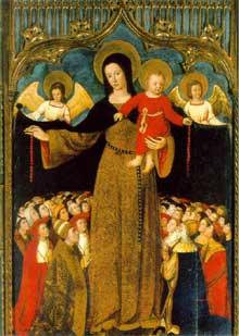 Louis Bréa (1450-1523): Vierge au Rosaire, retable de l'église de Biot. Vers 1505. (Histoire de l'art - Quattrocento