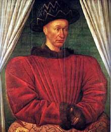Jean Fouquet (1420-1480): portrait de Charles VII de France. Vers 1445. Bois, 86 x 72 cm. Paris, musée du Louvre. (Histoire de l'art - Quattrocento