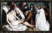 Jean Fouquet (1420-1480): Pieta. 1445, panneau, 146 x 237 cm. Eglise paroissiale de Nouans-le-Fontaines. (Histoire de l'art - Quattrocento