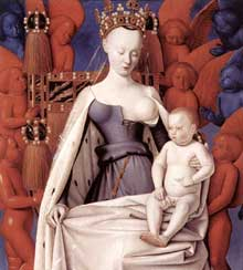 Jean Fouquet (1420-1480): vierge et enfant entourée d'anges. Vers 1450. Bopis peint, 93 x 85 cm. Anvers, musée royal des Beaux arts. (Histoire de l'art - Quattrocento