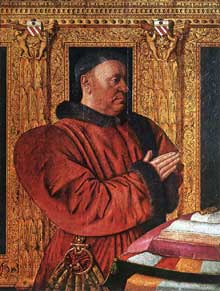 Jean Fouquet (1420-1480): Portrait de Guillaume Jouvenel des Ursins. Vers 1455. Bois, 92 x 74 cm. Paris, Musée du Louvre. (Histoire de l'art - Quattrocento