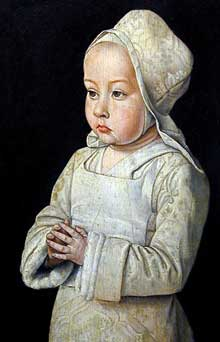 Jean Hey (Maître de Moulins? actif entre 1480 et 1500): Suzanne (1491-1521), fille de la dame de Beaujeu, duchesse de Bourbon. Entre 1492 et 1493. Panneau, 16 cm x 27 cm. Paris, musée du Louvre. (Histoire de l'art - Quattrocento