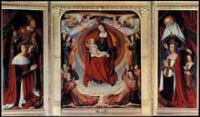 Jean Hey (Maître de Moulins? actif entre 1480 et 1500): le triptyque de Moulins. 1498-1499. Panneau de bois, 157 x 283 cm. Moulins, cathédrale. (Histoire de l'art - Quattrocento