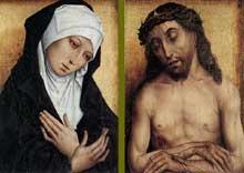 Simon Marmion (1420-1489): Vierge et Christ de douleur. 1480-1490. Huile sur bois, 44 x 30,5 cm. Bruges, Groeninge Museum. (Histoire de l'art - Quattrocento
