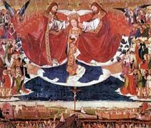 Enguerrand Charonton (ou Quarton, 1410-1461): le couronnement de la Vierge. 1453, huile sur panneau, 183 x 220 cm. Hospice de Villeneuve-les-Avignon. (Histoire de l'art - Quattrocento
