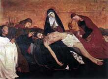 Enguerrand Charonton (ou Quarton, 1410-1461): pietà de Villeneuve-lès-Avignon. Vers 1460. Tempera sur bois, 162 x 218 cm. Paris, musée du Louvre. (Histoire de l'art - Quattrocento