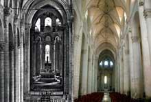 Consacrée en l'an 1100, l'église d'Airvault (Deux Sèvres) a été depuis assez profondément modifiée. Siège d'une collégiale de chanoines, elle fut réformée par Pierre de Saine Fontaine, «premier abbé d'Airvault», décédé le 7 août 1110. C'est lui qui fit réédifier l'église. La nef compte sept travées et des bas-côtés. Elle est voûtée d'ogives de style angevin