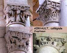 Airvault (Deux Sèvres): chapiteaux de la collégiale.