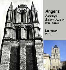 Angers: tour de l'ancienne abbaye de Saint Aubin, XIIè