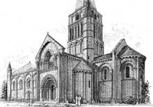 Aulnay du Saintonge: saint Pierre de la Tour. Vue générale