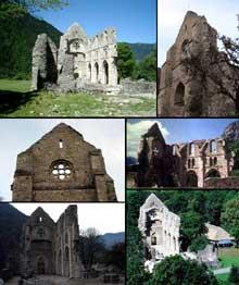 Aulps en Haute Savoie: l'abbaye cistercienne du XIè. Ruines de l'abbatiale
