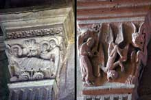 Autun, cathédrale saint Lazare: chapiteau de la nef: La nativité (1er pilier bas-côté gauche) et la chute de Simon le Magicien (2è pilier de droite)
