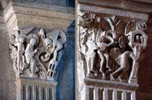 Autun, cathédrale saint Lazare: chapiteau de la nef: La seconde tentation du Christ (4è pilier de gauche) et Samson renversant le temple (5è pilier de droite)