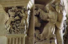 Autun, cathédrale saint Lazare: chapiteau du chœur: La première tentation du Christ, ensemble et détail