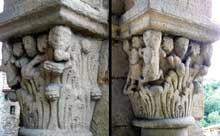 Auzon en Haute Loire: la collégiale saint Laurent, de la seconde moitié du XIIè. Chapiteaux du porche