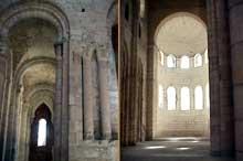 Bernay, l'église romane Notre Dame: nef avec abside et bas-côté