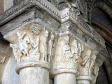 Saint Martin de Boscherville: l'abbatiale Saint Georges. Chapiteau de la salle capitulaire: Josué arrête la course du soleil