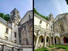 Brantôme (Dordogne): l'abbaye bénédictine. Vue sur le clocher roman, fin XIè