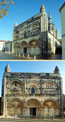 Civray (Vienne): l'église saint Nicolas. La façade