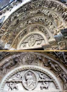 Civray (Vienne): l'église saint Nicolas. Le portail. Le tympan