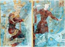 Civray (Vienne): l'église saint Nicolas. Fresques du cycle de saint Gilles. Détails: Charlemagne et le valet chassant