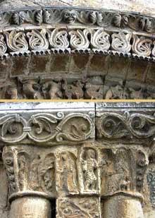 Civray (Vienne): l'église saint Nicolas. Décors des voussures du portail