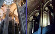 Conques en Aveyron: Sainte Foy, l'intérieur de l'abbatiale. La croisée et les tribunes