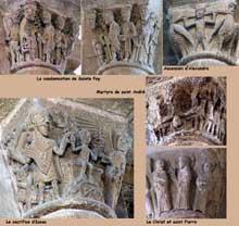 Conques: Sainte Foy: chapiteaux de l'abbatiale