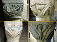 Cruas (Ardèche) Eglise abbatiale Notre Dame de Provence. Chapiteaux de la crypte
