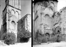Déols (Indre): l'abbaye Notre Dame de Bourg-Dieu. La base du clocher et les vestiges du narthex