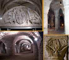 Abbatiale sainte Bénigne de Dijon: la crypte, le tympan, le scriptorium des moines et un chapiteau de la rotonde