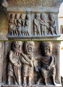 Elne, ancienne cathédrale sainte Eulalie. Hérode et les Mages Galerie sud du cloître, pilastre