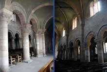 Etival-Clairefontaine: l'église abbatiale saint Pierre. Le bas côté sud et la nef