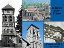 Eymoutiers (Haute Vienne): la collégiale saint Etienne et son clocher roman