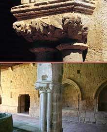 Flaran (Gers): abbaye cistercienne. Le cloître. Partie romane