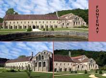 Fontenay en Côte d'Or: l'abbaye cistercienne: vue générale du coté est: de gauche à droite: scriptorium, salle capitulaire et abside de l'abbatiale