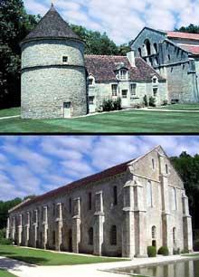 Fontenay en Côte d'Or: l'abbaye cistercienne: la forge (en bas), le pigeonnier et la façade occidentale de l'abbatiale (en haut)