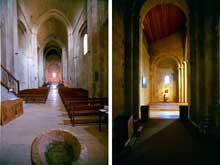 Ganagobie (Basses Alpes): le prieuré bénédictin. Nef et bas-côté