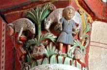 Issoire (Puy du Dôme), saint Austremoine: chapiteau du chœur. Le bon pasteur