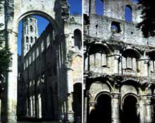 Jumièges (Seine Maritime): abbatiale Notre Dame. Elévation de la nef