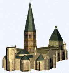 Le Dorat (Haute Vienne): collégiale saint Pierre. Restitution